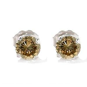 Click to buy Champagne Diamond Earrings: 14 K White Gold Champagne Diamond Earrings from Amazon!