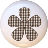 Chocolate Gingham Flower Drawer Pull Knob