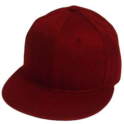 blank snapback hats  BLANK PLAIN MAROON FLAT BILL FITTED HAT CAP XLARGE ffa37cc86a6