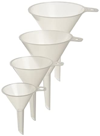 Azlon 542365-0SET 4 Piece Polypropylene Economy Lightweight Lab Funnel Assortment