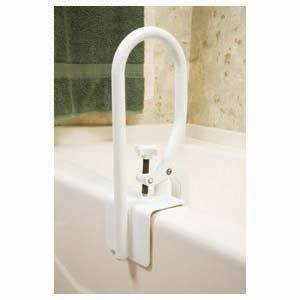 Carex Bathtub White Clamp-on Molded Support Rail Bar