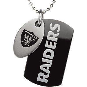 Oakland Raiders Official NFL Logo Black Dog Tag and Football Medallion Necklace by The Men