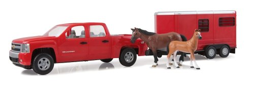 Ertl 1/16Th Big Farm Red Chevy Silverado With Horses And Horse Trailer front-870483