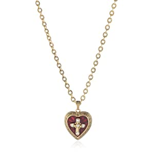 The Vatican Library Collection Red Enamel Cross Heart Locket