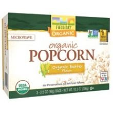 Field Day Organic Butter Flavor Microwave Popcorn, 3.5 Ounce - 3 Per Pack -- 12 Packs Per Case.
