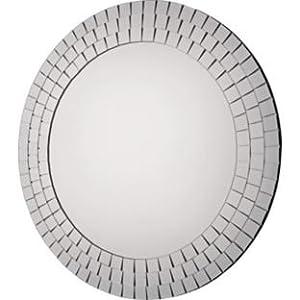 Mosaic Round Wall Mirror - Silver (662337166)
