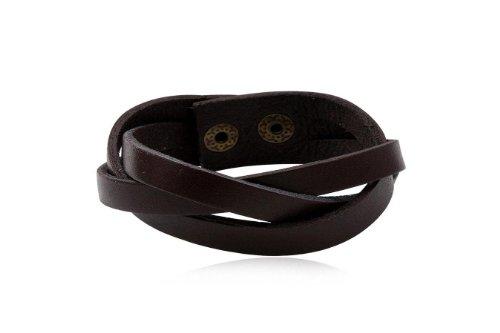 Fashion Brown Leather Wrap Cuff Rasta Bracelet Bangle Men's Jewelry