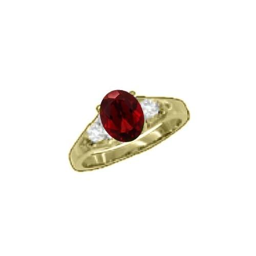 1.04 CT 7x5 Oval Red Garnet Diamond Yellow Gold Ring