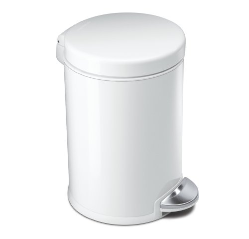 simplehuman Mini Round Step Trash Can, White Steel, 4.5 L / 1.2 Gal (Trash Can Retro compare prices)