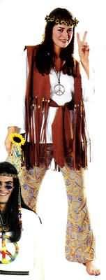 Love Child Adult Hippie Costume (Headpiece and Peace Necklace not included)