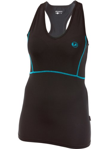 Ultrasport Women's Quick-Dry-Function Running Tank Top - Black/Turquoise, Small