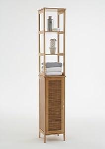balla tallboy slimline bathroom cabinet unit in solid bamboo amazon