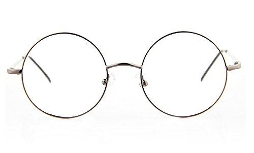 Large Frame Size Glasses : Agstum Retro Round Prescription ready Metal Eyeglass Frame ...