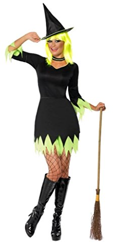 Smiffy's Women's Witch Costume with Dress Hat and Choker, Black/Green, Large