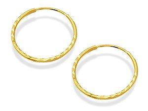 9ct Gold Diamond Cut Sleeper Earrings - 12mm