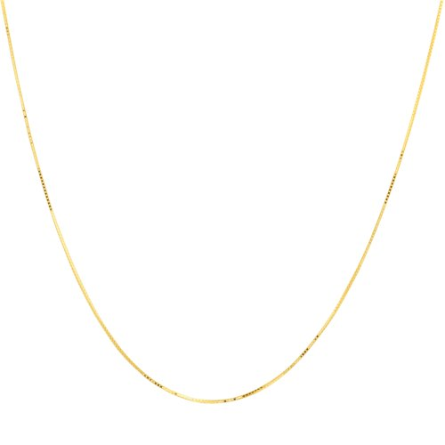 10k Yellow Gold .70mm Solid Box Chain Necklace, 22""