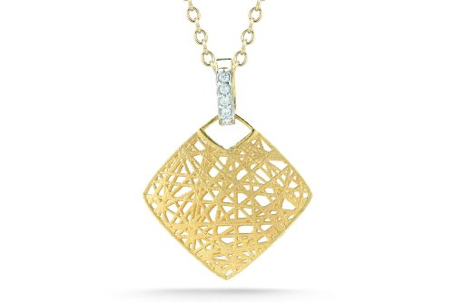 I. Reiss 14K Gold Diamond-Shaped Pendant, Enhanced with Diamonds.
