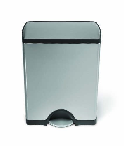 simplehuman 38L Rectangular Pedal Bin - Fingerprint-Proof Brushed Steel