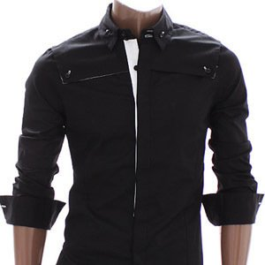 Stylish Unique Mens Casual Slim fit Dress Shirts Black Small