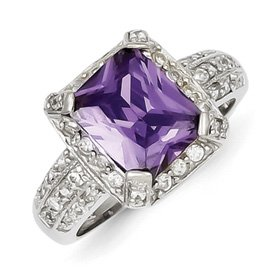 Genuine IceCarats Designer Jewelry Gift Sterling Silver Purple & Clear Cz Ring Size 8.00