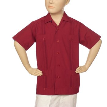 Boys poly-cotton guayabera in burgundy. Short sleeve