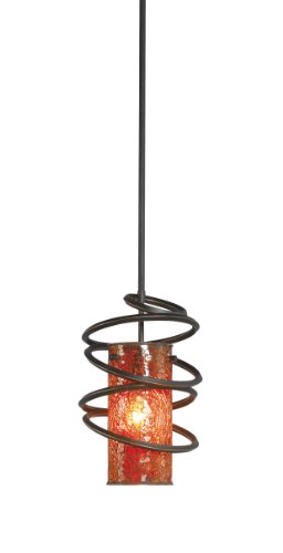 Woodbridge Lighting 12523BLK-M10AMB Loop 1-Light Mini-Pendant, 8-1/2-Inch by 50-Inch, Black