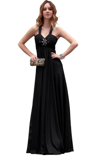 Kingmalls Womens floor length black halter evening Gowns Prom Celebrity Party Dresses