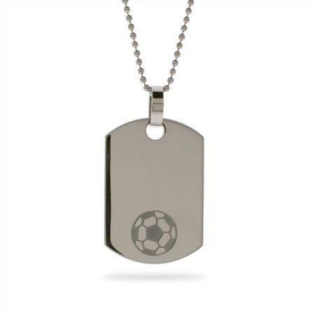 Stainless Steel Soccer Dog Tag Length 24 inches (Lengths 18 inches 20 inches 24 inches Available)