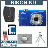 Nikon Coolpix S5100 Digital Camera Kit - Blue - with 8GB SD Memory Card, Camera Case, Table Top Tripod, Spare Rechargeable Li-ion Battery EN-EL10, 2 Year Extended Service Coverage