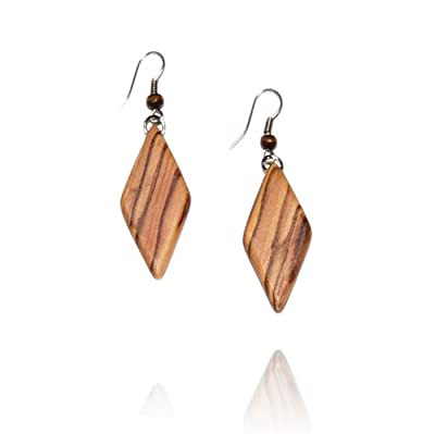From The Earth - Handmade Olive Wood Diamond Earrings - Fair Trade