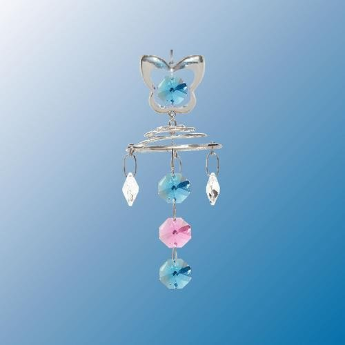 Butterfly With Topper Chrystal Chain ... Hanging Sun Catcher or Ornament..... With Ass'ted Color Swarovski Austrian Crystals
