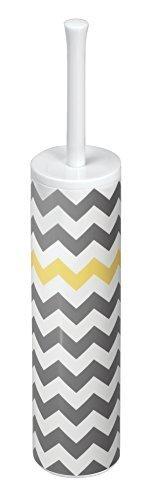 mDesign Slim Toilet Bowl Brush and Holder for Bathroom Storage - Gray/Yellow Chevron