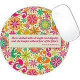 Proverbs 31:25 Bible Verse Floral Flowers Hot Pink And Teal Green Pattern Mouse Pad (ROUND)