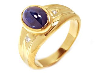 Sterling Silver Plated 18k Yellow Gold Natural Cabochon Sapphire and Diamond Ring Size 6.25 Ct.tw 1.90