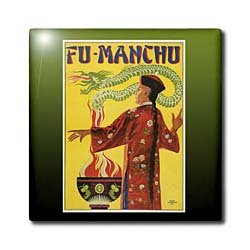 BLN Vintage Magician Posters - Vintage Fu-Manchu Chinese Magician Advertising Poster - Tiles - 4 Inch Ceramic Tile
