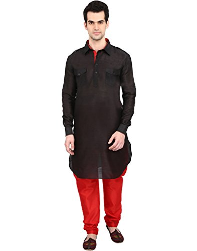 indian-ATTIRE-Ethnic-Blended-Silk-Solid-Pathani-And-Churidar-For-Men