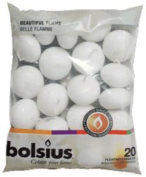 20 Bolsius 5 Hour Quality White Floating Candles By White Candle Company from Bolsius