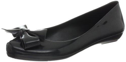 mel Dreamed by melissa Women's Strawberry Bow Ballet Flat,Black Bow,9 M US Picture