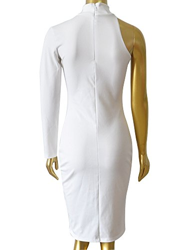 Allegrace Women Sexy One Shoulder Long Sleeve Bodycon Stretch Bandage Party Dress White S