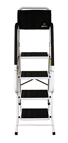 simple step 2 in 1 step stool and ladder with safety rails and bonus ladder caddy hardware tools. Black Bedroom Furniture Sets. Home Design Ideas