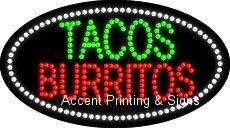 Tacos Burritos Flashing & Animated Led Sign (High Impact, Energy Efficient)