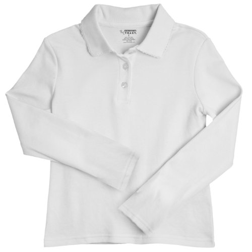 French Toast School Uniforms Ls Interlock Knit Polo Picot Collar Girls White 2T