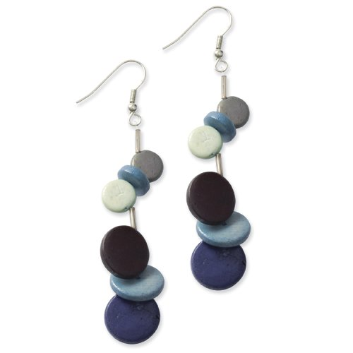 Botanical Harvest Multicolored Wood & Acrylic Bead Dangle Earrings