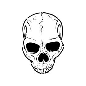 Cracked Skull Stencil - 24 inch (at longest point) - 10