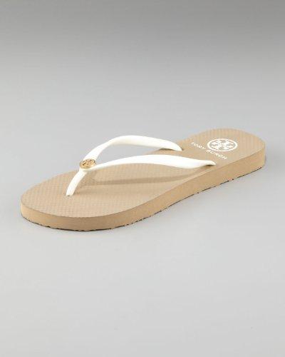 Tory Burch White & Khaki Flip Flops Sandals Flats Size 8