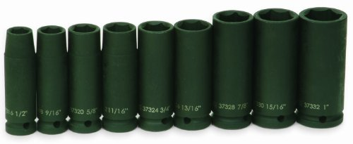 Jh Williams 37906 9-Piece 1/2-Inch Drive Deep 6 Point Impact Socket Set