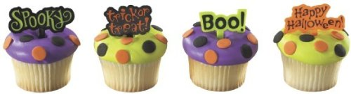 Halloween CupCake TOPPER Party Birthday Kit Messages Boo Treats Bags LootsTop