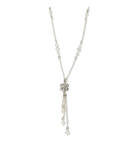 Silver-tone Crystal Flower Y Drop 16