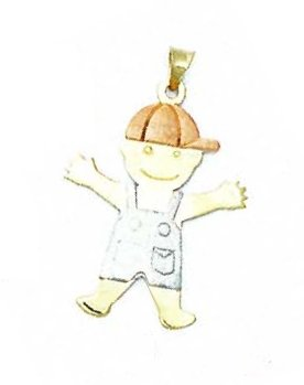 14k Two-Tone Large Boy Pendant - JewelryWeb