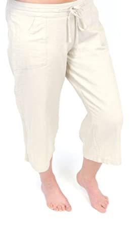 Womens/Ladies Summer Linen Blend 3/4 Length Trouser With Pockets & Draw String, Cream 12